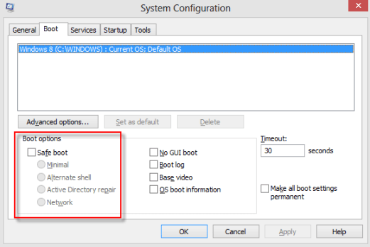 system configuration boot options