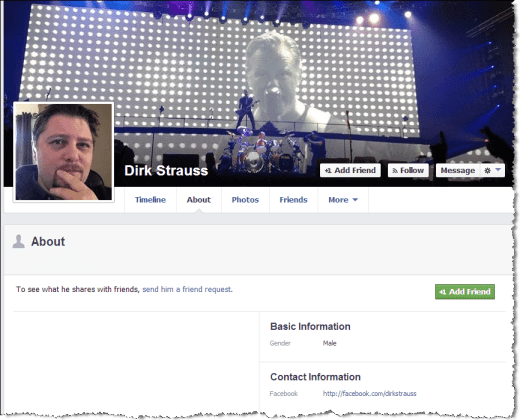 facebook privacy profile page
