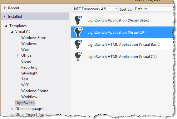 visual studio new lightswitch project