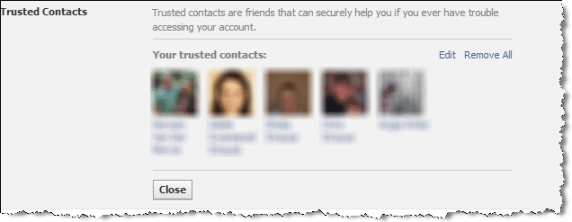 trusted contacts added