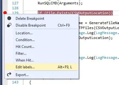 Visual Studio 2013 Breakpoint Labels Create