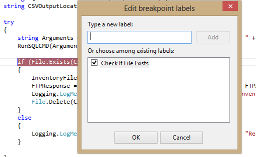 visual studio 2013 breakpoint label created