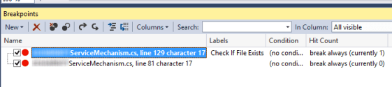 visual studio 2013 breakpoint labels view