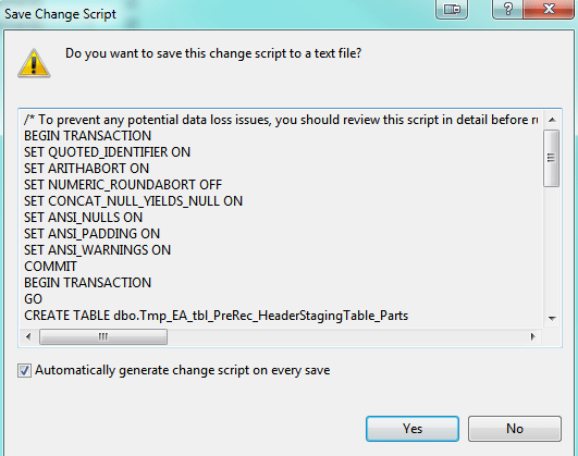 Easily Generate Table Change Scripts