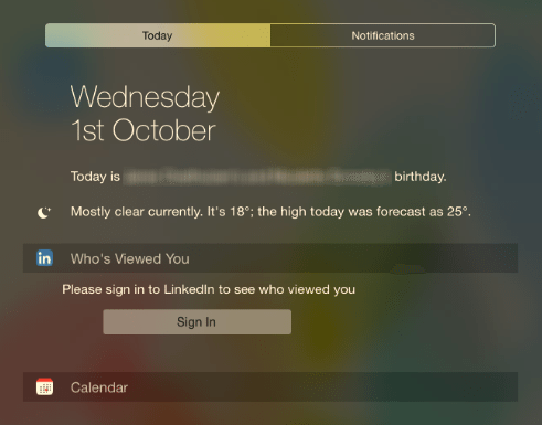 LinkedIn iOS 8 Widget