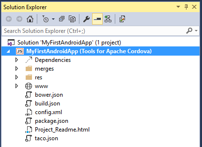 Visual Studio Enterprise 2015 Cordova Solution Explorer