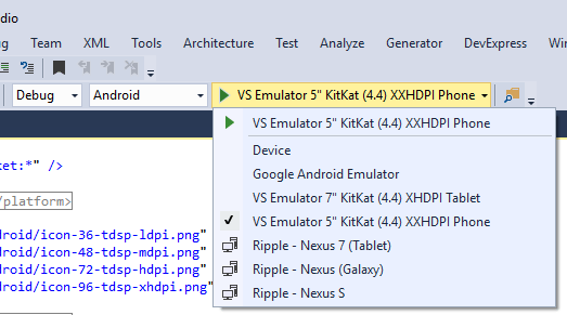 Visual Studio Enterprise 2015 VS Android Emulator Selection
