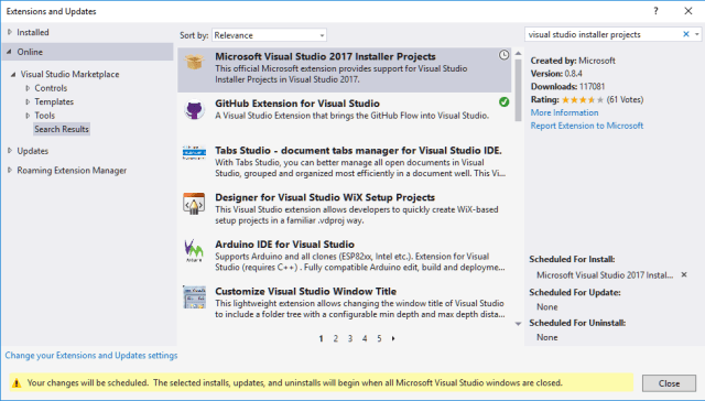 Visual Studio 2017 Installer Projects