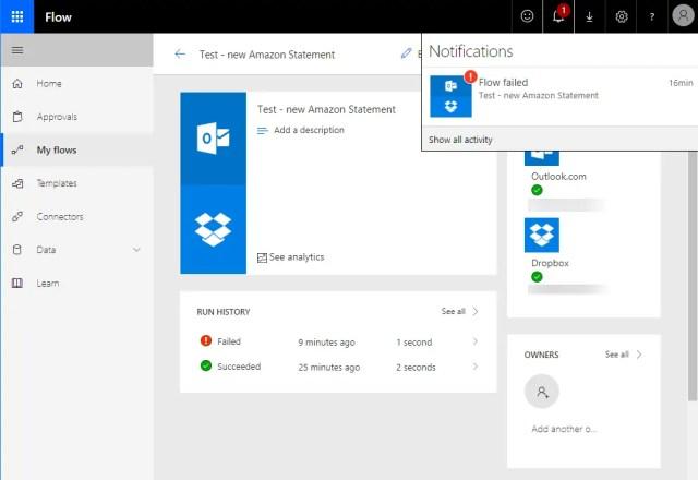 Microsoft Flow Failure Notification