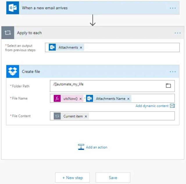 Microsoft Flow Modify Filename Saved