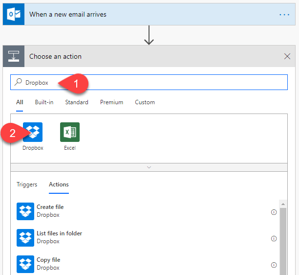 Email Automation Microsoft Flow add dropbox action