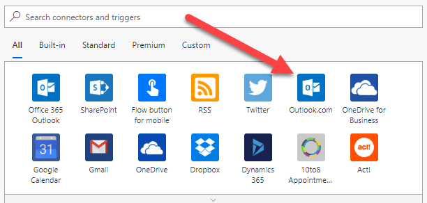 Email Automation Microsoft Flow select trigger