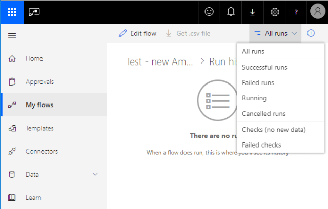 Email Automation Microsoft Flow checking runs