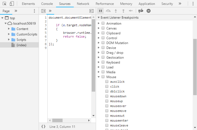 Event listener breakpoints in Chrome Dev Tools