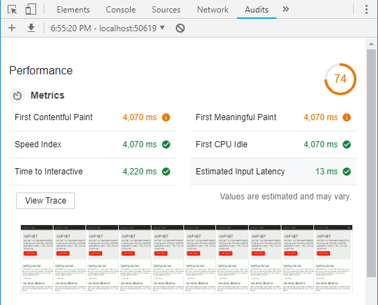 Chrome Dev Tools Performance Metrics