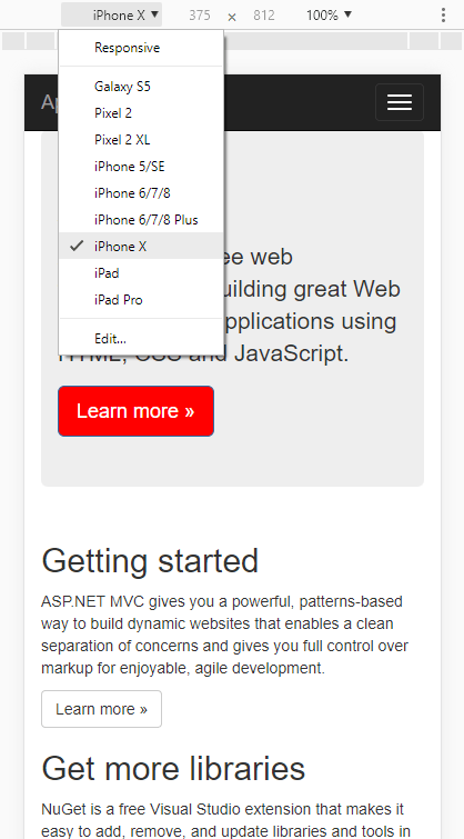 Specify specific mobile device in Chrome Dev Tools