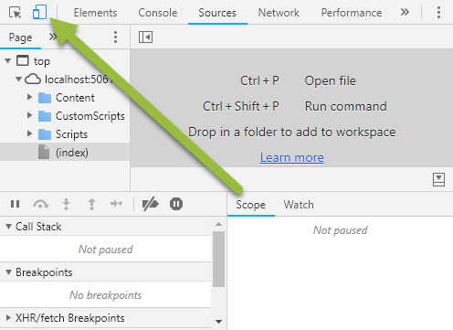 Set device mode in Chrome Dev Tools