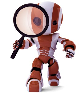 A glossy robot with a magnifying glass inspecting something. A fun concept in programming and search engine optimization.