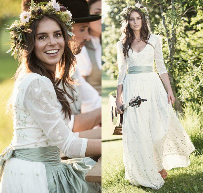 Bodenlanges Brautdirndl