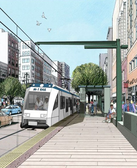 Rendering of M-1 Streetcar line, Woodward Avenue / Next City
