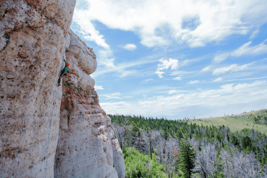 Justin Wallace leading Zorro (11c) in Lander, WY