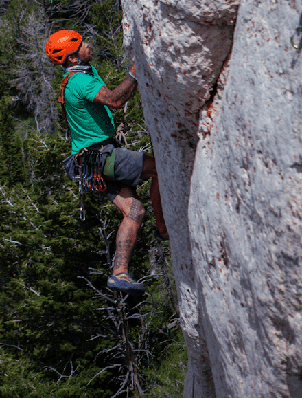 Justin Wallace climbing Zorro (11c) in Lander, WY