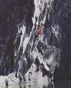Hodge Close Quarry, Lake District Deep water solo James Dickinson