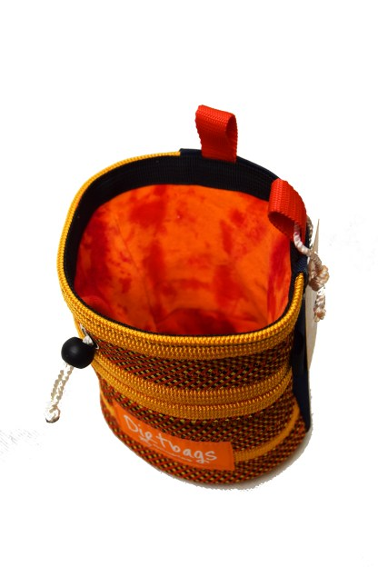 Red and orange Recycled rope climbing chalk bag, made ethically in the UK
