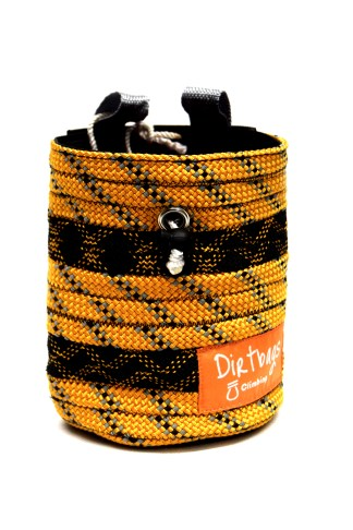 Front view of orange and black chalk bag made using recycled climbing rope