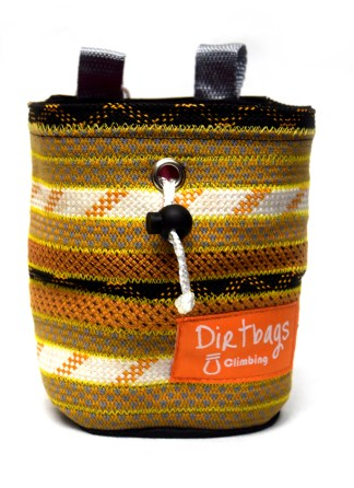 Black, gold and white climbing chalk bag with pink fleece, made from rope