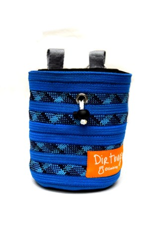 Blue chalk bag made with climbing rope