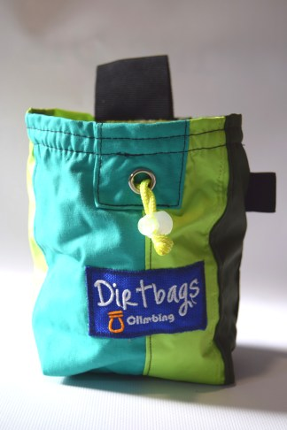 Upcycled tent fabric as a chalk bag for climbing