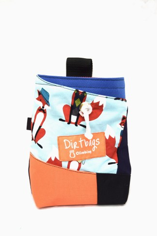 Made ethically in the UK, a climbing chalk bag from upcycled fabrics