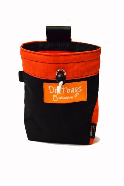 Orange and black chalk bag made with upcycled materials
