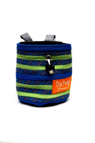 Green and blue chalk bag made using recycled climbing rope