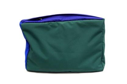 Back view of green waterproof zip wash bag