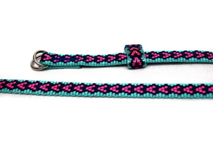 Blue and pink slim belt made from a retired climbing sling
