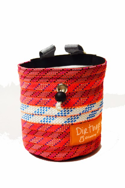 Pink Recycled rope climbing chalk bag, made ethically in the UK