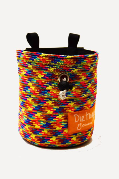 Rainbow coloured chalk bag made using recycled climbing rope. Front view.