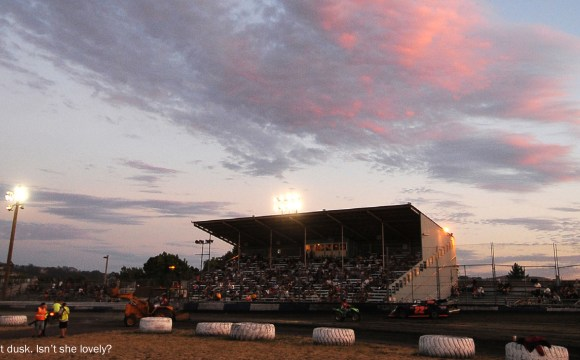 Petaluma speedway at dusk with beautiful red orange and purple skies. Photo by M&M photos