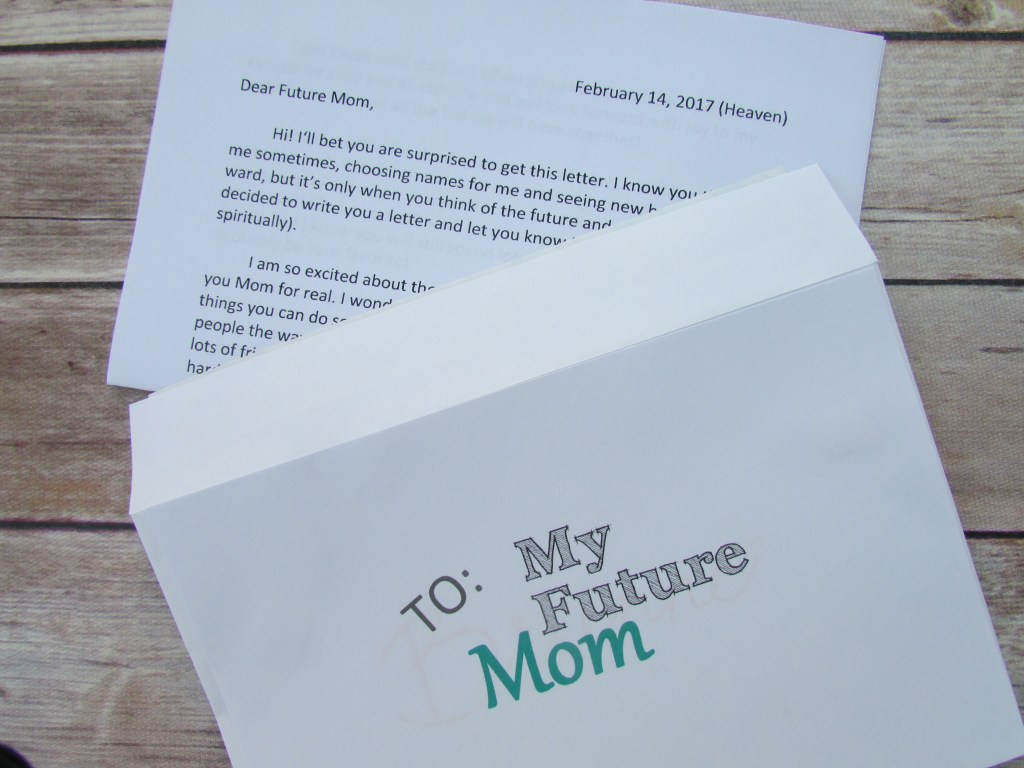 Dear future mom, letter, handout, Young Women, Young Women lesson, Choices, LDS, Mormon, Come Follow Me,
