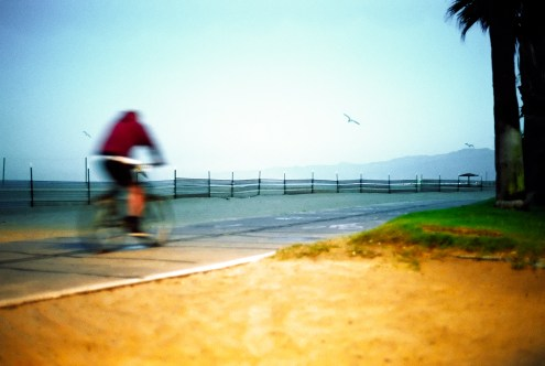 man on bicycle on the path early in the morning at Venice beach california