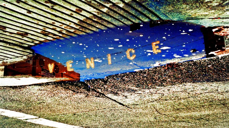 the iconic venice sign reflected on a water puddle in Venice california