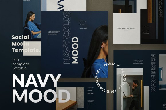NAVY MOOD // Social Media Kit Post & Stories
