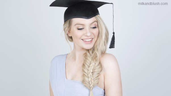Image result for bun braid under graduation cap