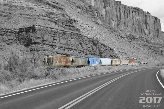 Roadside Train Cars in Moab