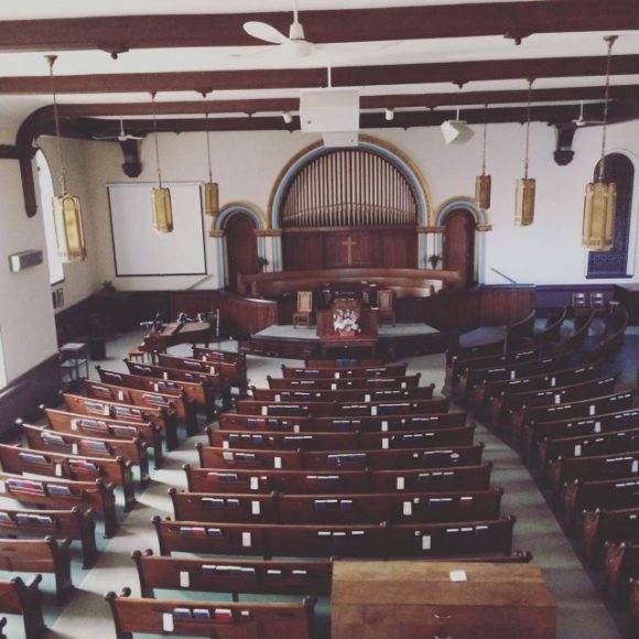 The empty sanctuary of Queen Street Baptist church.