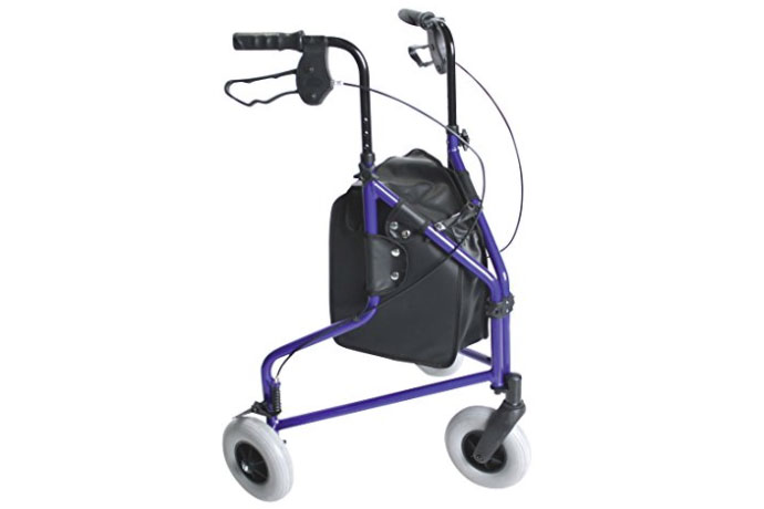 Days 240L Lightweight Aluminium Folding 3 Wheel Tri Walker with Lockable Brakes and Carry Bag - Blue