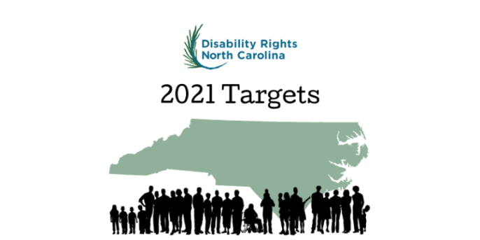 DRNC logo with words 2021 targets beneath. over green shape of NC above crowd of diverse people