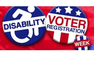 Button labeled Disability with wheelchair logo and button labeled Voter registration with stars and stripes